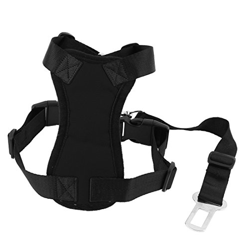 Uxcell Pet Dog Cat Harness Safety Strap Vest with Car Seat Belt Lead Clip Free Size Black