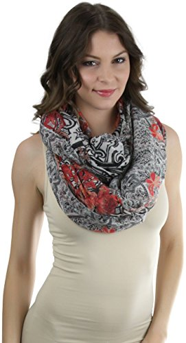 ToBeInStyle Women's Leaves with Color Splash Print Infinity Scarf - - Colour Red Splash