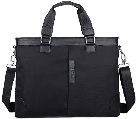 ビジネスバッグ オックスフォード布 2WAY ビジネストートバッグ トートバッグ 大容量 自立 カバン メンズ (ブラック)
