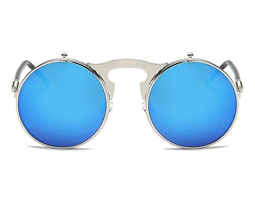 Argent Rétro Lentille De Round Métal Bleu Lunettes Classique Cadre de UV400 Flip Protection Steampunk Frame soleil wBUwp6q