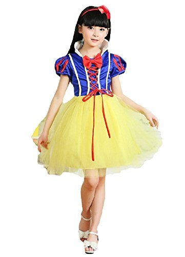 [SPJ: Snow White Style Dress Princess Kids Costume Halloween (140cm)] (Simple Character Day Costumes)