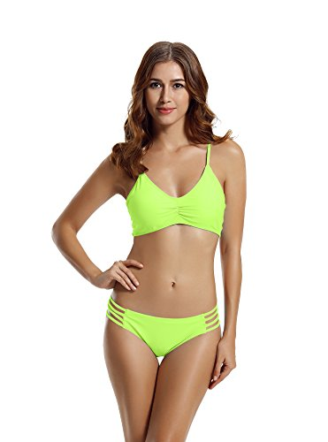 - zeraca Women's Strap Side Bottom Halter Racerback Bikini Swimwear (XL18, Lime Punch)