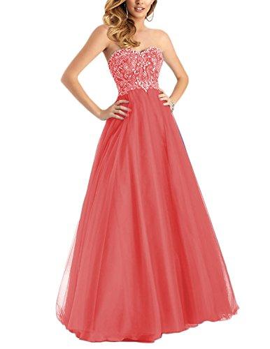 DarlingU Women's Formal Sweetheart Beaded Prom Dresses Long Evening Party Gown Open Back Watermelon 22W - Socks Beaded Hearts