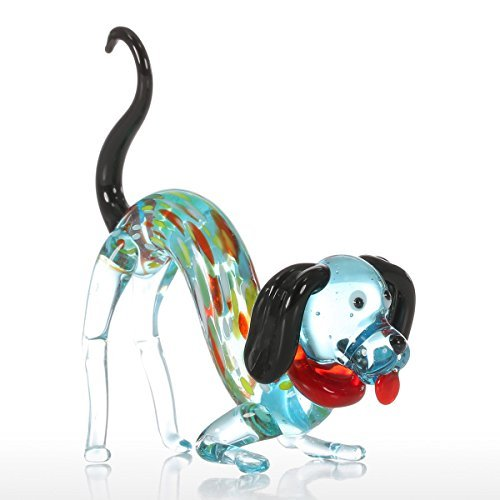 Tooarts Colorful Dog Gift Glass Ornament Animal Figurine Handblown Home Decor by Tooarts
