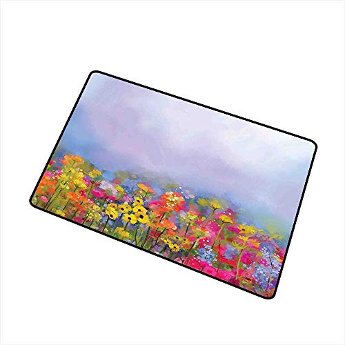 (Entry Way Outdoor Door Mat Flower,Blooming Tulips with Green Leaves in The Botanical Garden with Paint Effect Image,Multicolor,with Non Slip Backing,24