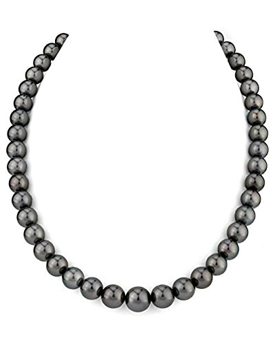 Sterling Silver 5.0-5.5mm South Sea Black Cultured Pearl Necklace with Sterling Silver 5.0-5.5mm clasp - AA+ Quality, 24 Inch Princess Length Akoya Sea Pearl Necklace