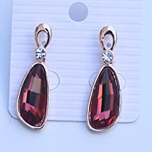 BST Fashion Alloy Jewelry Trilateral Crystal Gold-Plated Drop Earrings(Red)E604