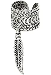 Sterling Silver Ear Cuff Earring w Hanging Feather (one piece),9 mm wide