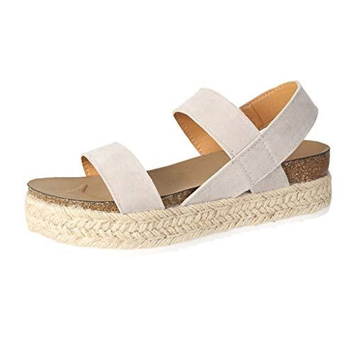 (NIKAIRALEY Shoes Women's Wedge Platform Sandals Casual Espadrilles Flatform Ankle Strap Open Toe Slingback Summer Sandals Beige)