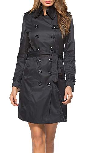 longues à Ceinture manches Vintage Classiques manches Slim Fit à d'affaires Printemps Jolie Automne Lapel Trenchs longues femmes pour Manteau Inclus survêtement veste élégant Noir xqw4w