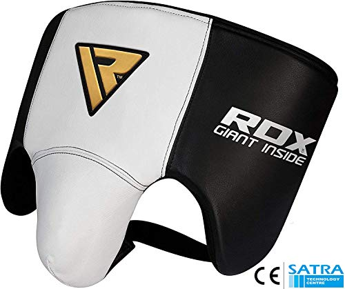 RDX Groin Guard for Boxing, MMA Training - Cow Hide Leather Abdo Gear for Muay Thai, Martial Arts, Sparring & Fighting - Abdominal Protector for Men - Jock Strap for Kickboxing, Karate, Taekwondo, BJJ