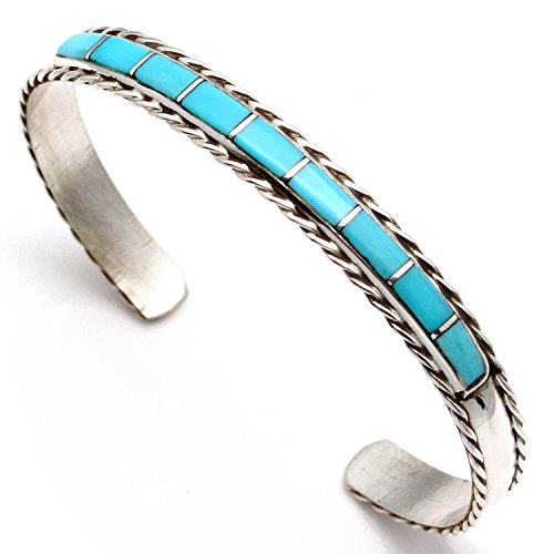 Sterling Channel Inlay - Zuni Sterling Silver Channel Inlay Turquoise Bracelet