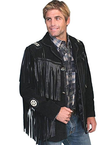 Scully Men's Fringed Suede Leather Coat Tall