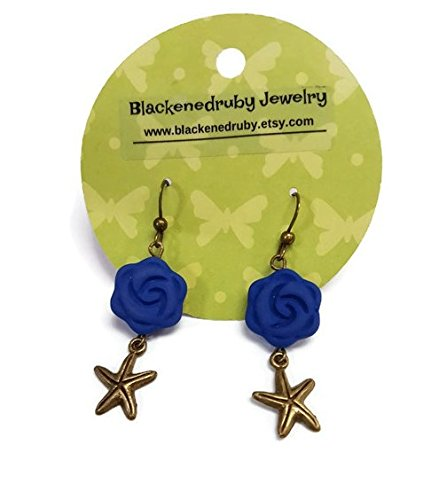 Bronze Starfish Earrings with blue -