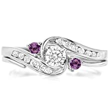 10K White Gold Round Amethyst And White Diamond Ladies Swirl Bridal Engagement Ring Matching Band Set