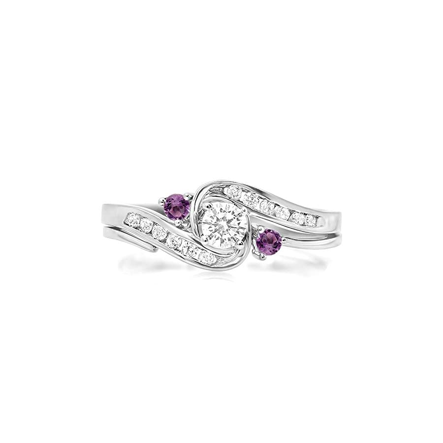 Dazzlingrock Collection 10K White Gold Round Amethyst and White Diamond Ladies Swirl Bridal Engagement Ring Matching Band Set