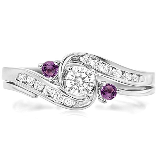 Dazzlingrock Collection 10K Round Amethyst & White Diamond Swirl Bridal Engagement Ring Matching Band Set, White Gold, Size 6.5 - Diamond 10k Gold Swirl Ring