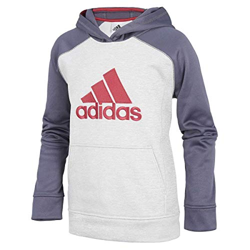 adidas Boy's Athletic Pullover Hoodie (S-8, Grey Burgundy)