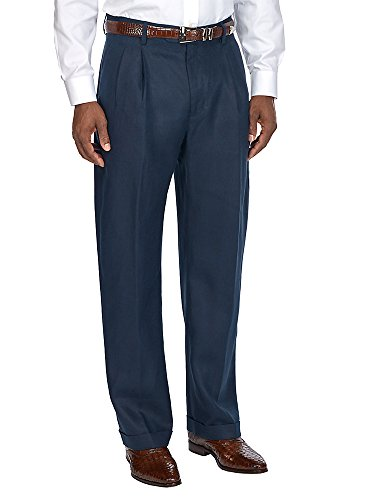 Paul Fredrick Men's Linen Pleated Pant Navy 38 ()