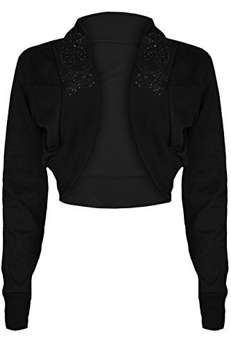 Oops Outlet Women's Diamantes Studded Cotton Bolero Cardigan Shrug Cropped Top Plus Size (US 20/22) Black (Jacket Cardigan Black Top Beaded)