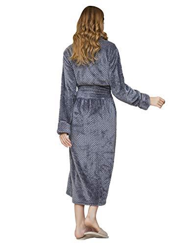 1fdf4a2ddd AMONIDA Fleece Bathrobe for Women Long Robes Soft Pajamas Purple ...
