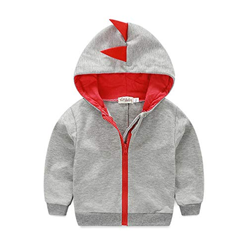 Dealone Baby Boys Long Sleeve Dinosaur Jacket Clothes Toddler Zip-up Hoodies Sweatshirt Light Gray