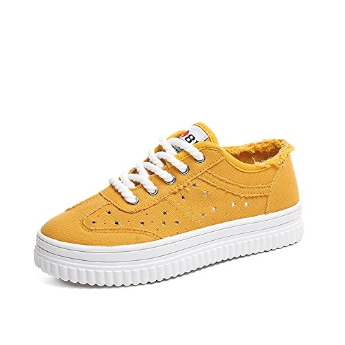The Shoes Yellow Women's with Flat Toe Round Design Star Dirty Pattern Shoes Unique 676z5qw