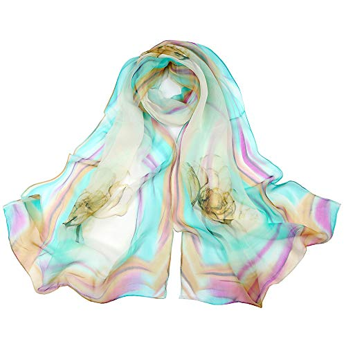 DoreKim Women's Floral Chiffon Scarf Georgette Scarf for Ladies in Variety Colors DS102-Blue&Purple
