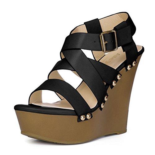 Allegra K Dames Sandalen Met Sleehak Zwart