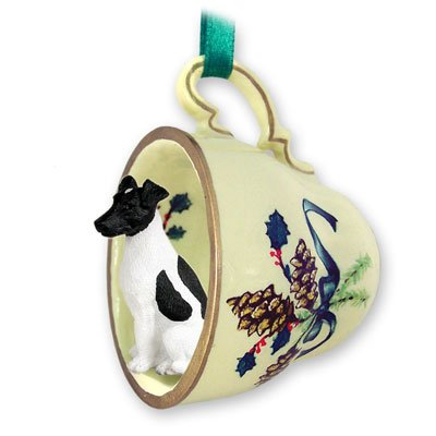 Fox Terrier Green Holiday Tea Cup Dog Ornament - Black & (Black Fox Terrier Ornaments)