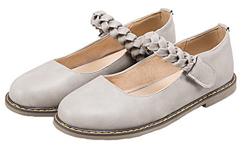 AmoonyFashion Womens PU Round Closed Toe Solid Hook-and-Loop Pumps-Shoes Gray PdTkrCn