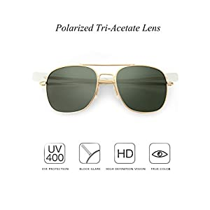 WELUK Men's Pilot Aviator Sunglasses Polarized 55mm Military Style with Bayonet Temples (Gold/Dark green, 58)