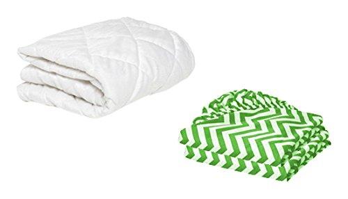 BKB Toddler Mattress Protector and 2 Chevron Sheets, Green