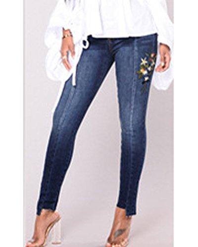 Slim Taille Jeggings Taille lasticit Skinny Femme Brod Jeans Pants Pantalon fonc haute Denim Boyfriend Haute Stretch Bleu n6SWPWz1x