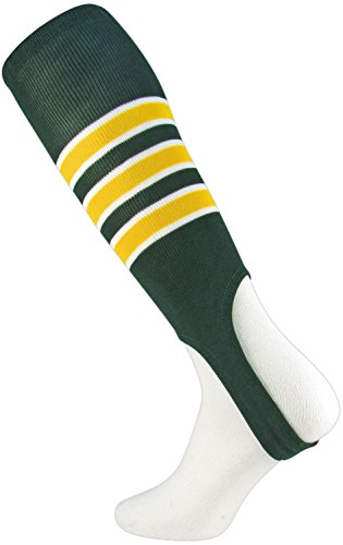 TCK Sports Striped 7 Baseball/Softball Stirrup Socks, Dark Green/White/Gold