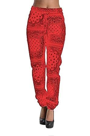 Women's Offset Bandana Print Twill Jogger Pants RJJ325 - RED - Large C1C