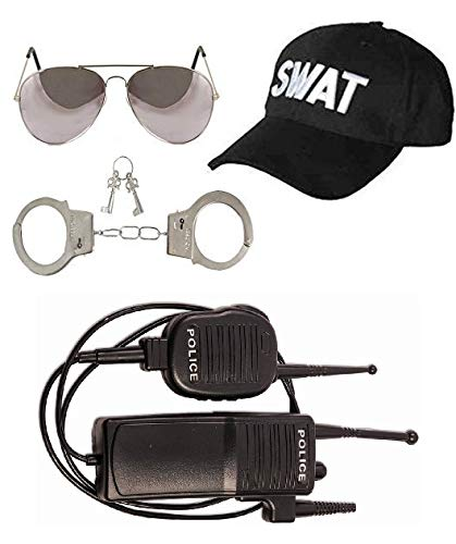 ADULT UNISEX SWAT POLICE SET VEST GLASSES BASEBALL CAP FANCY DRESS PARTY