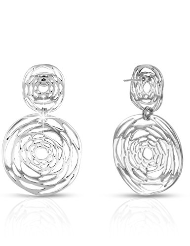 XZP Woman Antique Silver Plated Dangle Earrings Sterling Silver Post Retro Flower Design Women Drop Earrings Jewelry (Silver) (Earrings Fashion Case)