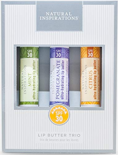 Natural Inspirations Ultra Hydrating SPF 30 Lip Butter 3 Piece Boxed Gift Set - Citrus, Pomegranate and Mint by Natural Inspirations