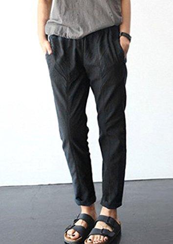 Mujer Pantalones Harem De Cintura Elástica Con Cordón Tallas Grandes Suelto Casuales Capri Pantalones Negro /Capri