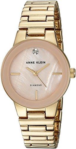 Anne Klein Women's AK/2670PMGB Diamond-Accented Gold-Tone Bracelet Watch
