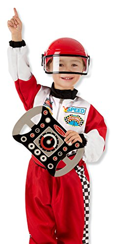 Melissa & Doug Race Car Driver Role Play Costume Set (3 pcs) - Jumpsuit, Helmet, Steering Wheel