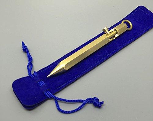Action Ballpoint Pen Solid Brass (Funda 10CM Handmade Solid brass Bolt Action ball point pen emergency kubaton - Premium Gift choice)