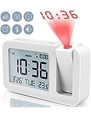 """TedGem Réveil Numérique, Réveil à Projecteur Réveil Digital Réveil Projection Réveil LCD de 3,8"""", 4 Luminosité, 9 Min Snooze, 2 Sons d'Alarme, pour Chambre, Bureau, Cuisine (Blanc)"""