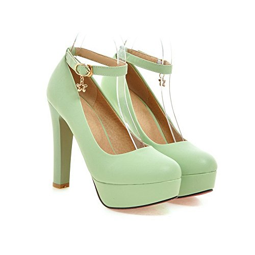 Womens Buckle Rubber Pumps Heels High BalaMasa Green Solid Shoes FdwUxqPPRH