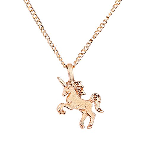 NEVERMORE Dainty Silver-Plated (Gold or Silver Color) Unicorn Necklace With Chain and Dainty Unicorn Charm (Gold)