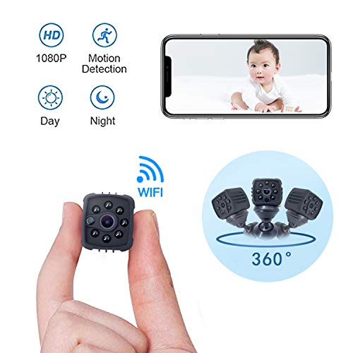 Portable Mini Spy Camera Hidden,1080P Wireless Nanny Camera with Cell Phone App,Night Vision and Motion Detection Remote Monitoring-Security for Pet,Baby,Indoor,Home and Office(Black) Cell Phone Spy Equipment