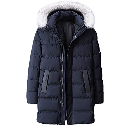 Men's Warm Cotton Coat Clearance,Winter Hooded Zipper Down Jacket Thickened Plus Size Mid Length Outwear L-9XL (Dark Blue, 9X-Large)
