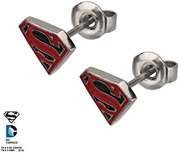 Stainless Steel Post with Red and Black Epoxy Superman Logo Stud Earrings