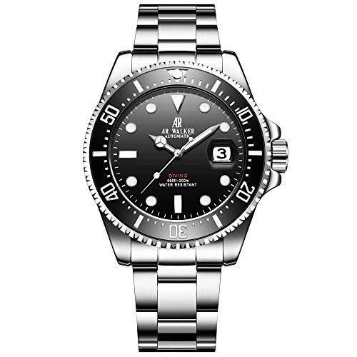 Mechanical Stainless Steel Wrist Watch - Huboler Men's Automatic Mechanical Stainless Steel Diver Watch with Link Bracelet Watches for Men Wrist Watch (Model:1302)